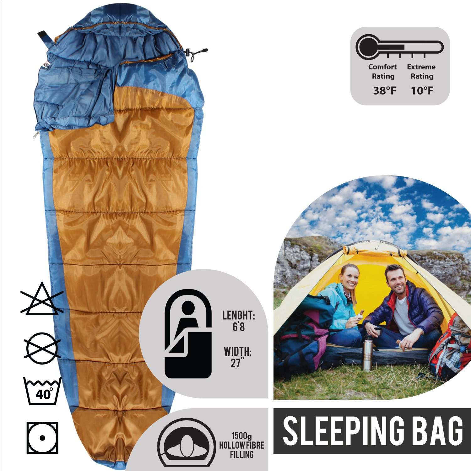 b065b4f921d4 Amazon.com : KHOMO GEAR - 3 Season - Mummy Sleeping Bag for Hiking ...