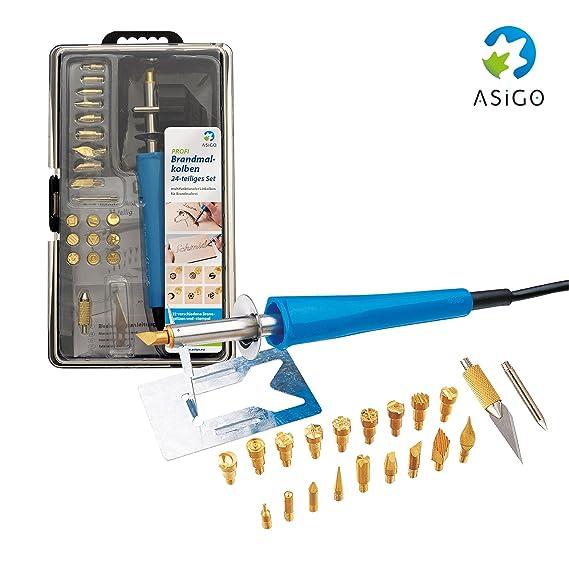 Asigo 90219 - Kit Pirograbador Profesional V2 24 Piezas | Pirógrafo Madera, Cuero, Cera y Corcho | Soldador de Estaño 30 W/230 V: Amazon.es: Bricolaje y ...