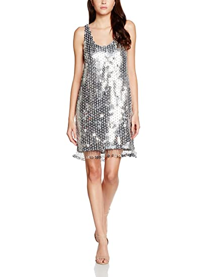b4669306a27 French Connection Women's Cindy Sparkle Dress, Silver, 8: Amazon.co ...