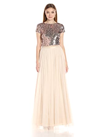 824bfb672e14a6 Adrianna Papell Women s Short Sleeve Sequin Crop Top with Tulle Skirt   Amazon.co.uk  Clothing