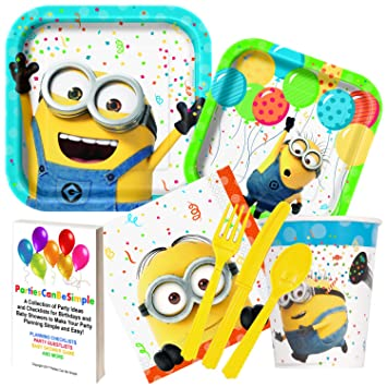 Despicable Me Minions Party Supplies Dinner Plates Dessert Plates Cups Napkins Cutlery for 16 Guests by  sc 1 st  Amazon.com & Amazon.com: Despicable Me Minions Party Supplies Dinner Plates ...