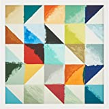 "Amazon Brand – Rivet Abstract 3D Mid-Century Folded Paper Wall Art Geometric Shapes I, White Frame, 31"" x 31"""