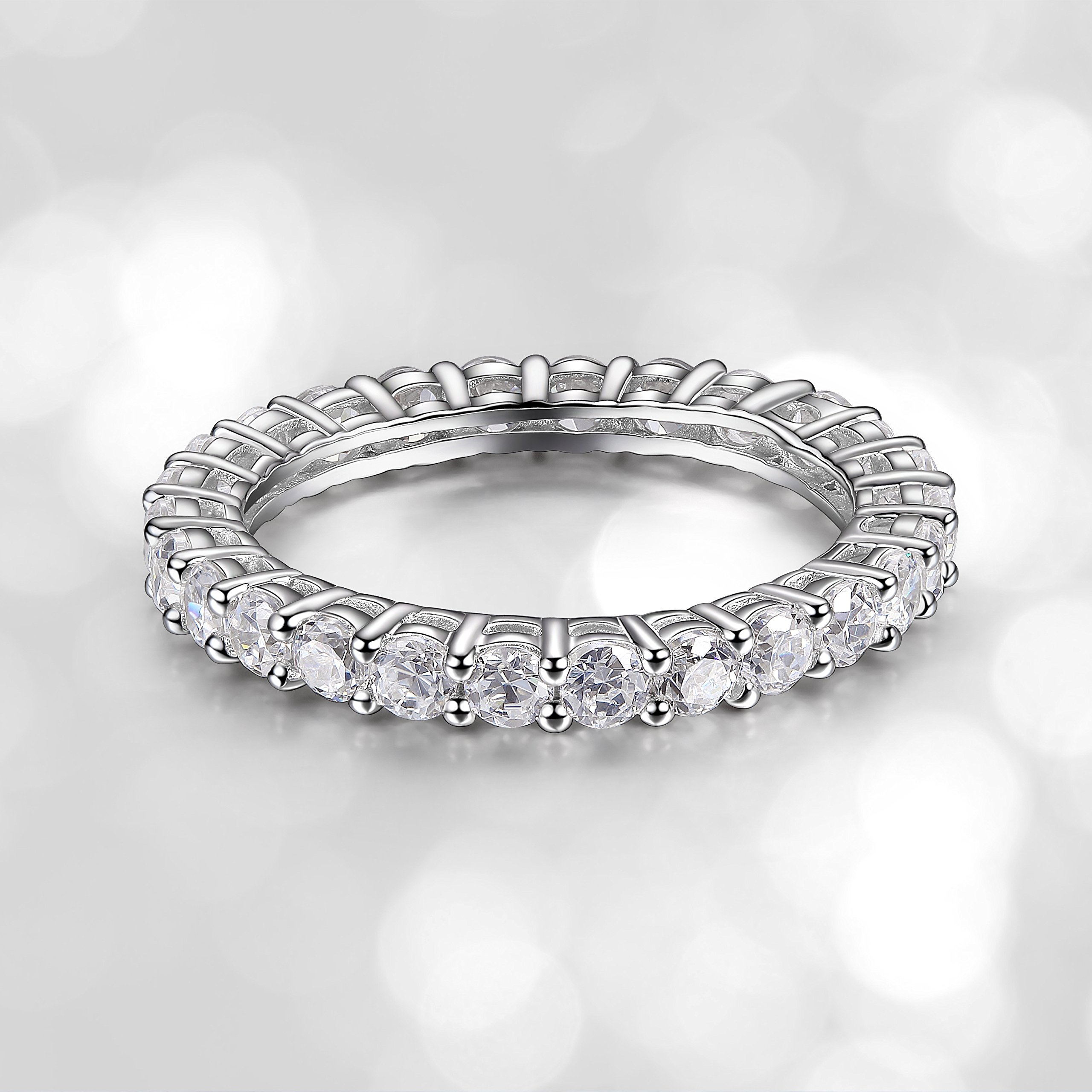 Platinum Plated Sterling Silver Cubic Zirconia Eternity Band Ring, Size 6
