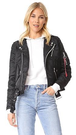 Amazon.com  Alpha Industries Women s Outlaw Biker Bomber Jacket ... e64a50d29