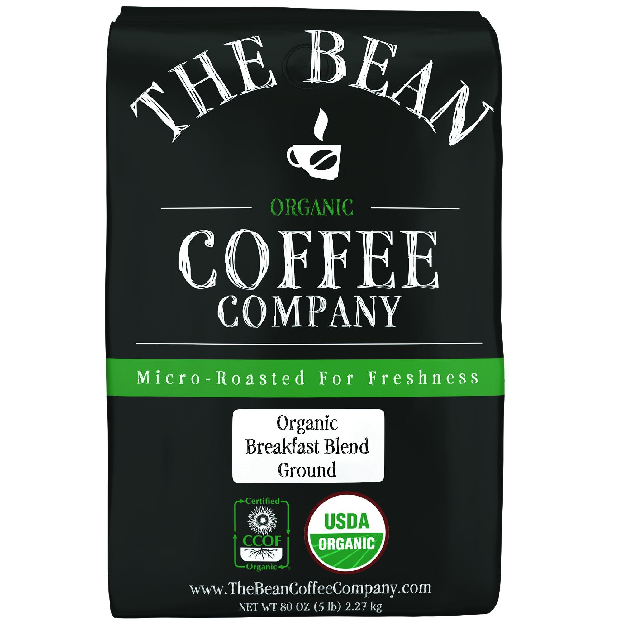 The Bean Coffee Company Organic Breakfast Blend, Light Roast, Ground, 5-Pound Bag