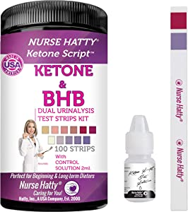 Nurse Hatty - Dual Keto & BHB Urinalysis Test Strips with Control Solution for Ketone & Beta-Hydroxybutyrate Levels in Urine + BHB eBook – Fresh 100ct. Extra Long Testing Strips for Ketogenic Diet