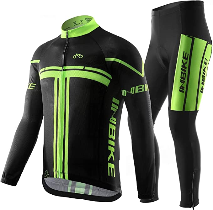 Bib Inbike Team Cycling Kit Men/'s Short Sleeve Cycle Jersey Padded Shorts Set