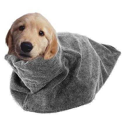 UEETEK Perro Cachorro Toalla Albornoz Mascota Baño Toalla Súper Absorbente - Tamaño L (Gris)