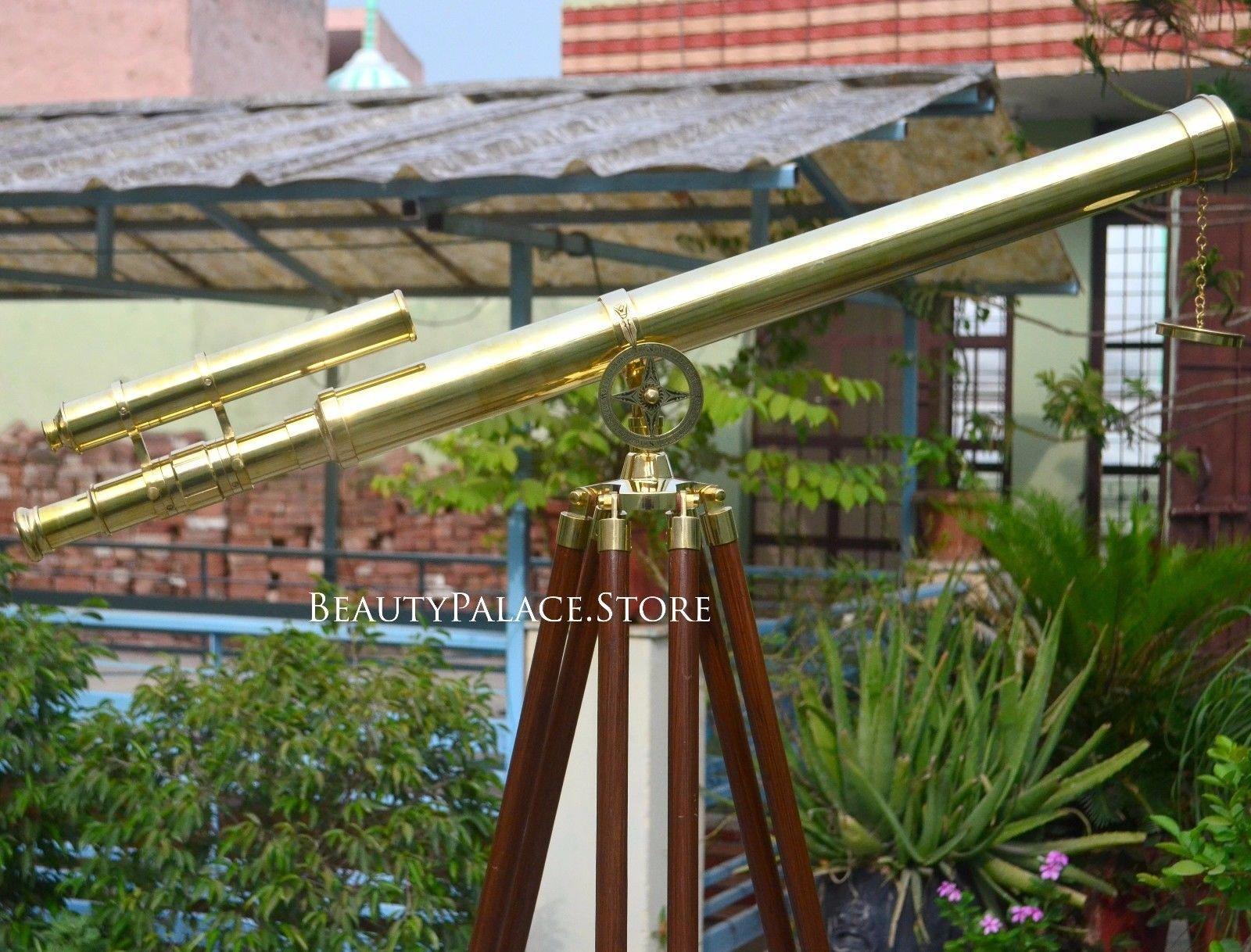 Maritime Telescope Beautiful Brass Double Barrel Nautical Telescope 62'' High On Wooden Tripod Handcrafted