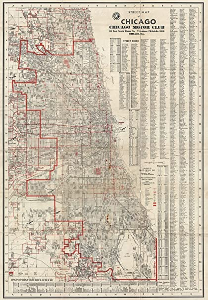 Amazoncom Historical 1929 Fred Wild Street Map or Plan of Chicago