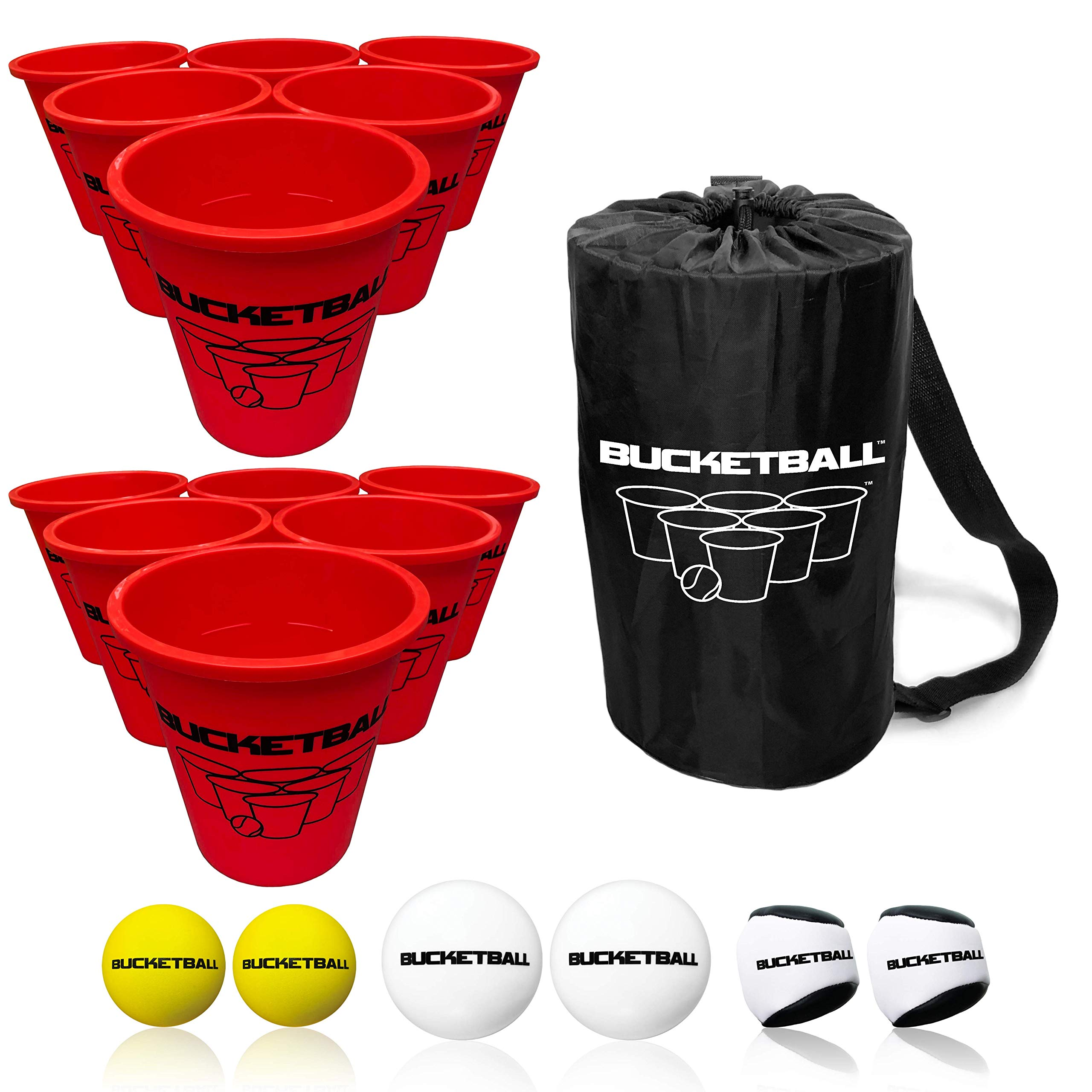 BucketBall - Giant Yard Pong Edition Combo Pack - Best Beach, Pool, Yard, Camping, Tailgate, BBQ, Lawn, Water, Indoor, Outdoor Game Toy for Adults, Boys, Girls, Teens, Family by BucketBall