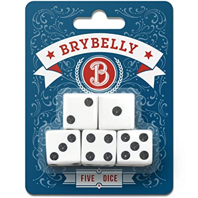 Classic White Game Dice for Playing Board Games and Card Games, 5-Pack Set - 16mm Regular Pipped Six-Sided Dice by Brybelly: Toys & Games