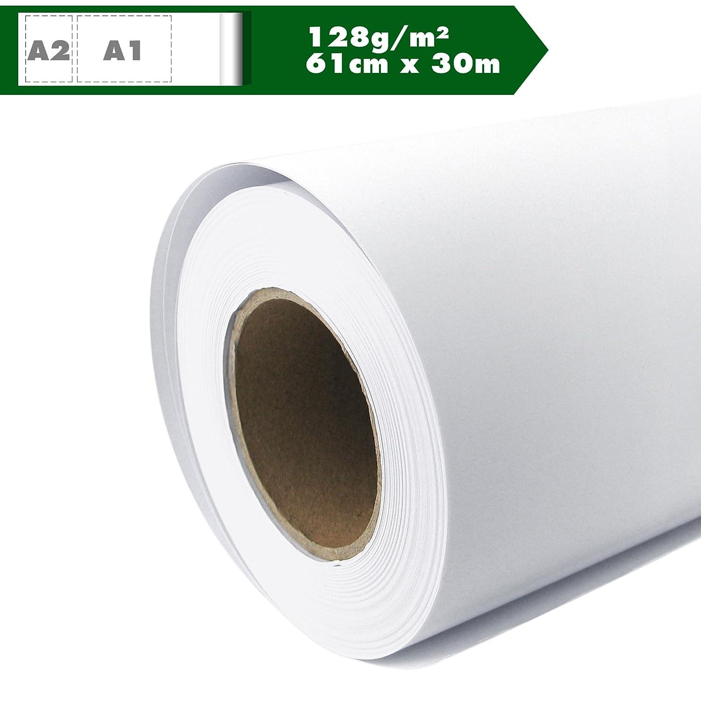 Carta per plotter opaca 128 g//m2 61 cm x 30 m A1 A2 Inkjet Plotter carta universale verniciata impermeabile adatto per colori a pigmenti e Dye.
