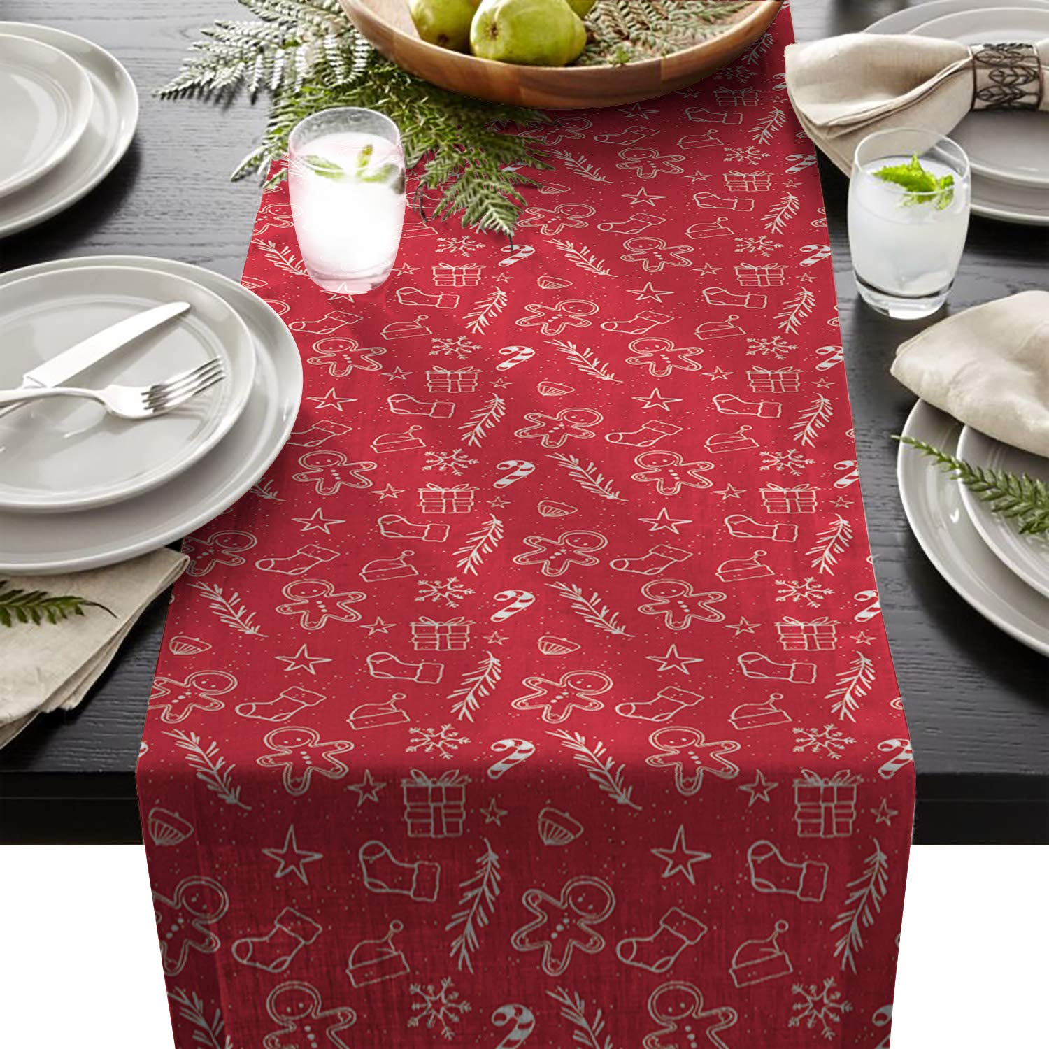 Artshowing Winter Theme Table Runner Party Supplies Fabric Decorations For Wedding Birthday Baby Shower 18x72inch Gingerbread Man Festive Christmas