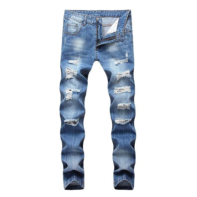 Dant Bulun Men's Ripped Distressed Destroyed Slim Fit Straight Leg Denim Jeans by Dant Bulun