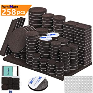 Furniture Pads 258PCS Large Pack Self Adhesive Furniture Felt Pads Brown Felt Pad 5mm Thick Anti Scratch Floor Protectors for Chair Legs Feet with Case 60 Rubber Bumpers for Hardwood Tile Wood Floor