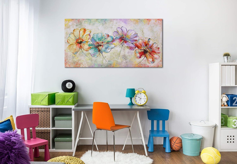 """YS-Art /""""Premium/"""" Quadro Dipinto con Colori Acrilici Bei Fiori Arte Moderna Unico 100x50 Mano Muro Tela"""
