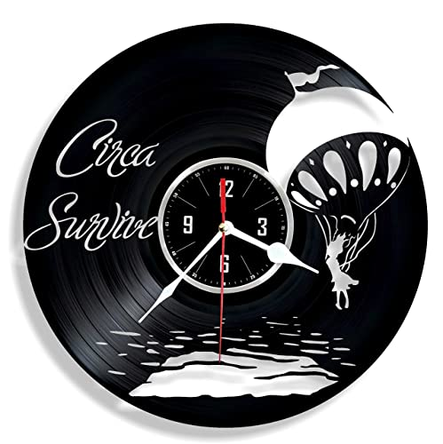 HMGift Circa Survive vinyl wall clock – great gift for birthday, anniversary or any other occasion – beautiful home decor – unique design that made out of retro vinyl record