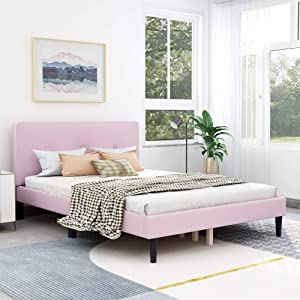AUFANK Upholstered Button Tufted Platform Bed with Headboard Strong Wood Slat Support Mattress Foundation Easy Assembly Pink Full