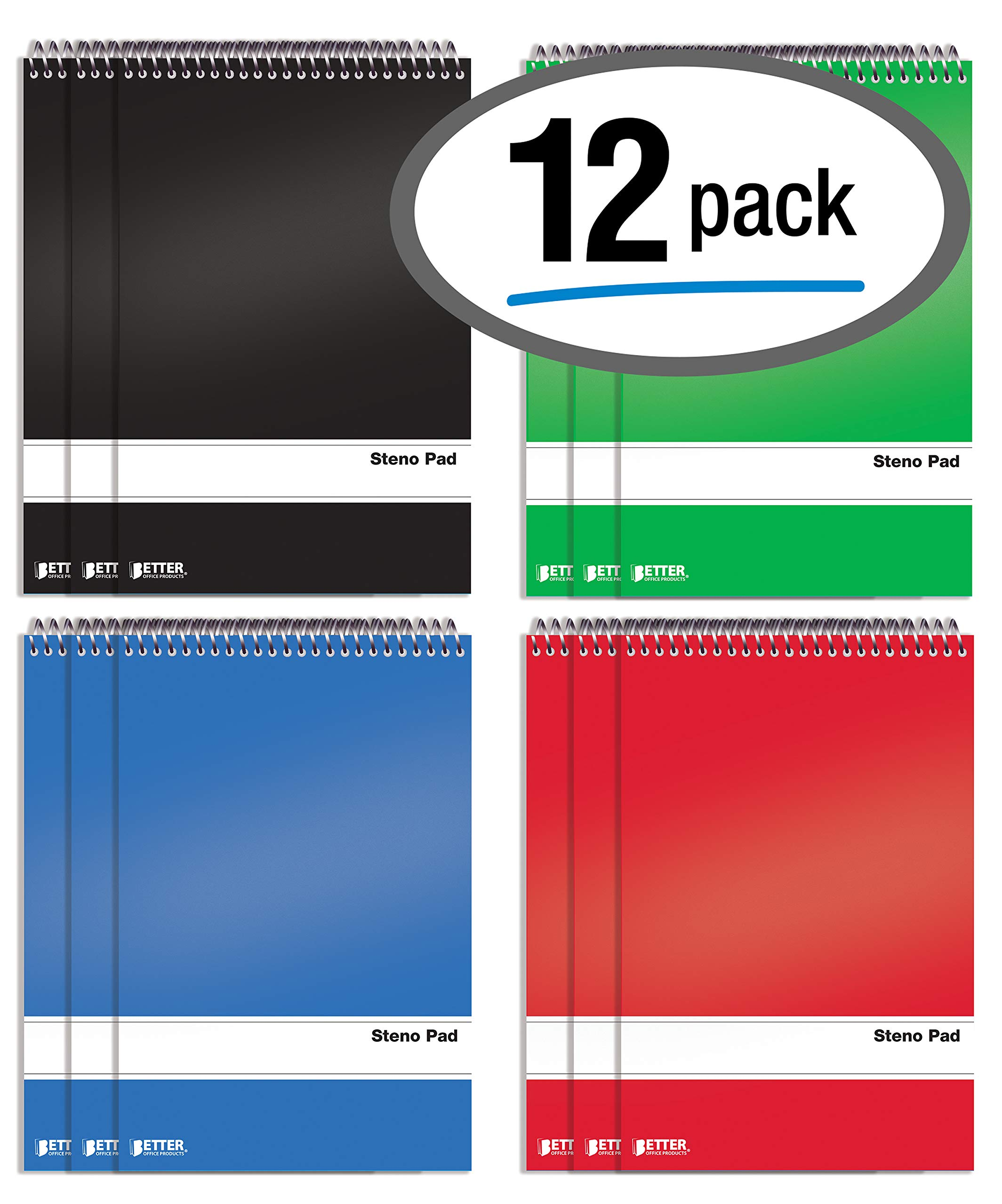 Spiral Steno Pads, 12 Pack, 6 x 9 inches, 80 Sheets, White Paper, Gregg Rule, by Better Office Products, Assorted Solid Colors (Red, Black, Blue, Green), 12 Pack by Better Office Products