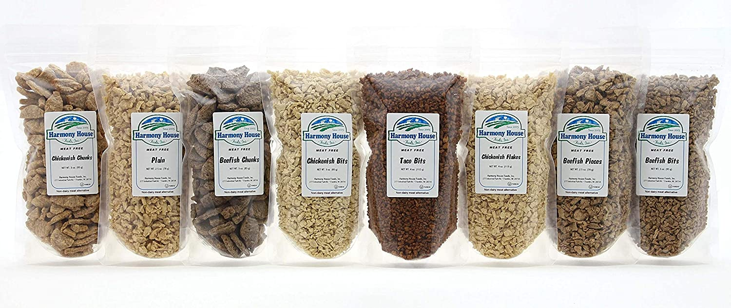Harmony House Foods TVP Sampler Pack - Textured Vegetable Protein Chunks, Vegan, Non-GMO, Meat Substitute For Meatless Meals, 8 Resealable Zip Pouches