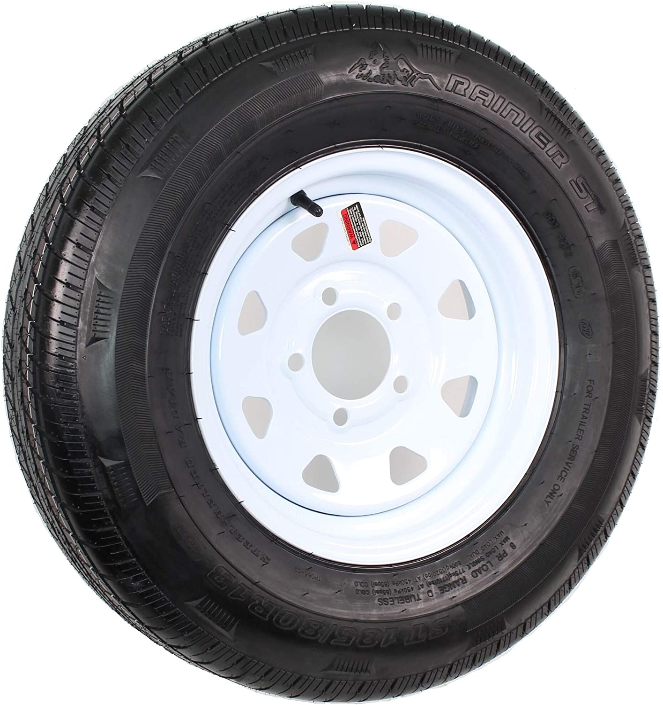 eCustomRim Radial Trailer Tire and Rim ST185//80R13 13X4.5 5-4.5 White Spoke