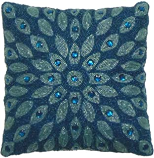 cotton craft peacock hand beaded decorative pillow 12x12 square blue teal u0026 lovingly
