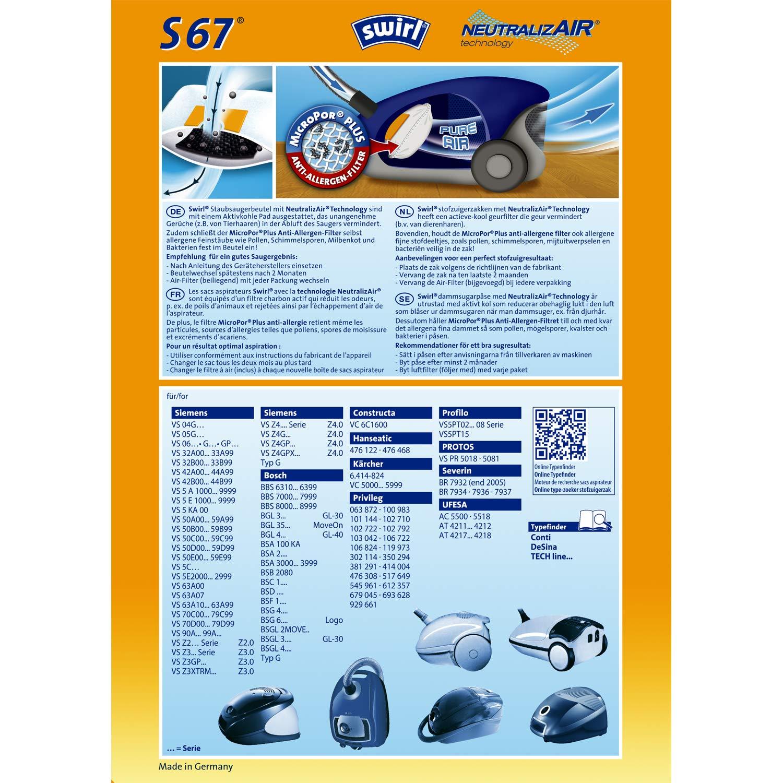 Amazon.com: Swirl Swirl S 67 MicroPor Plus bolsas de ...