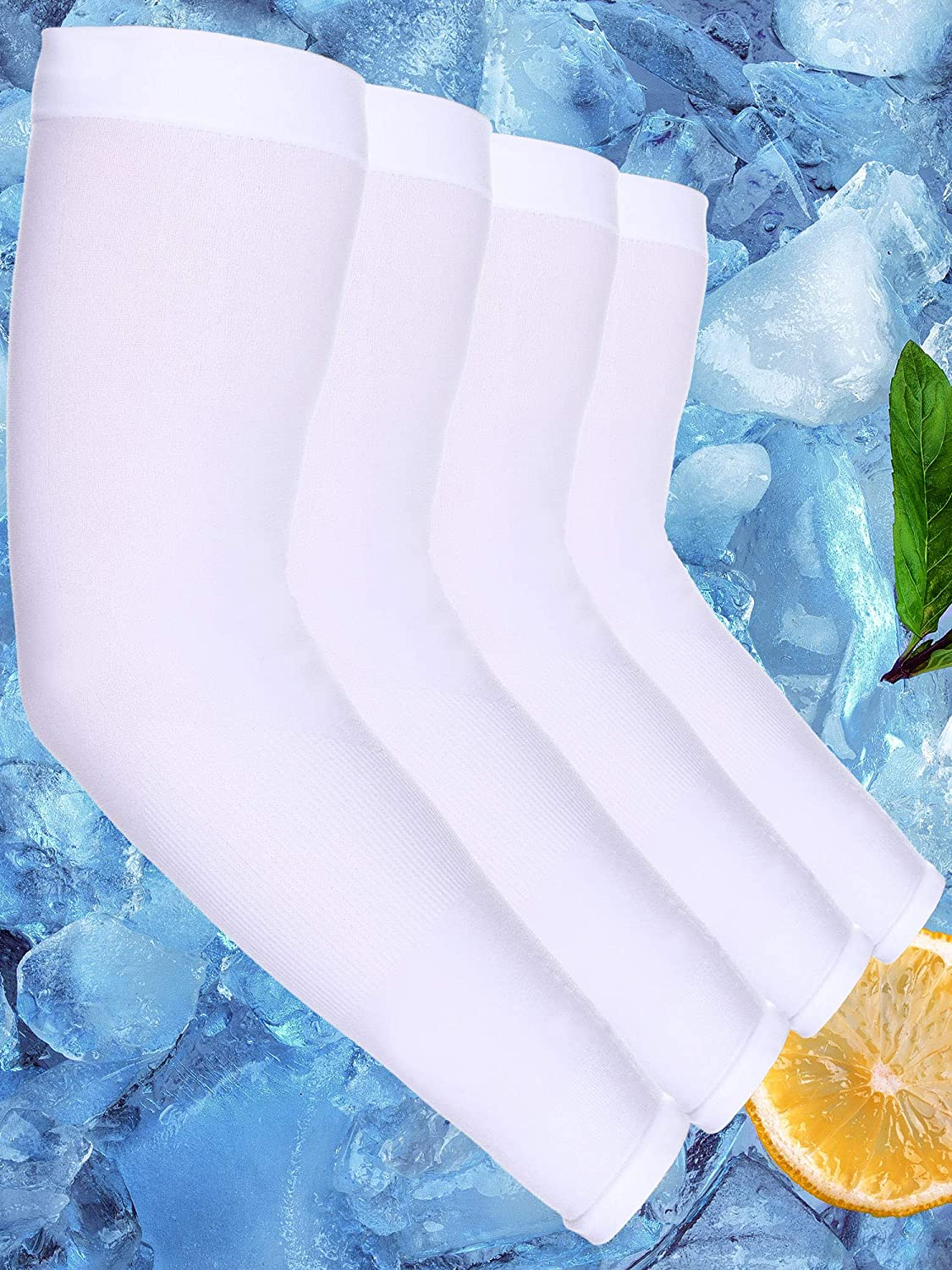 White, Style A Boao 8 Pairs Unisex Cooling Arm Sleeves Ice Silk UV Sun Protective Glove 2 Styles