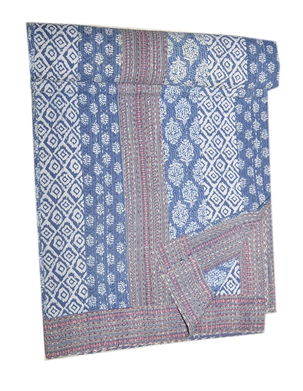 ブロックプリントF Kantha Throw Indianキルトクイーンボーホーコットン毛布ベッド B075XQSPC7