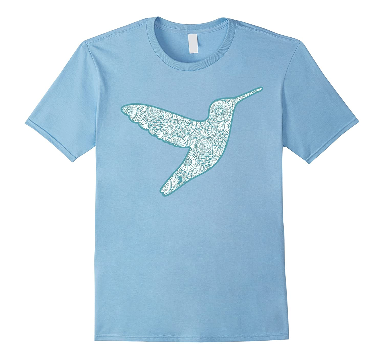 Hummingbird Silhouette T-Shirt With Paisley Pattern-Art