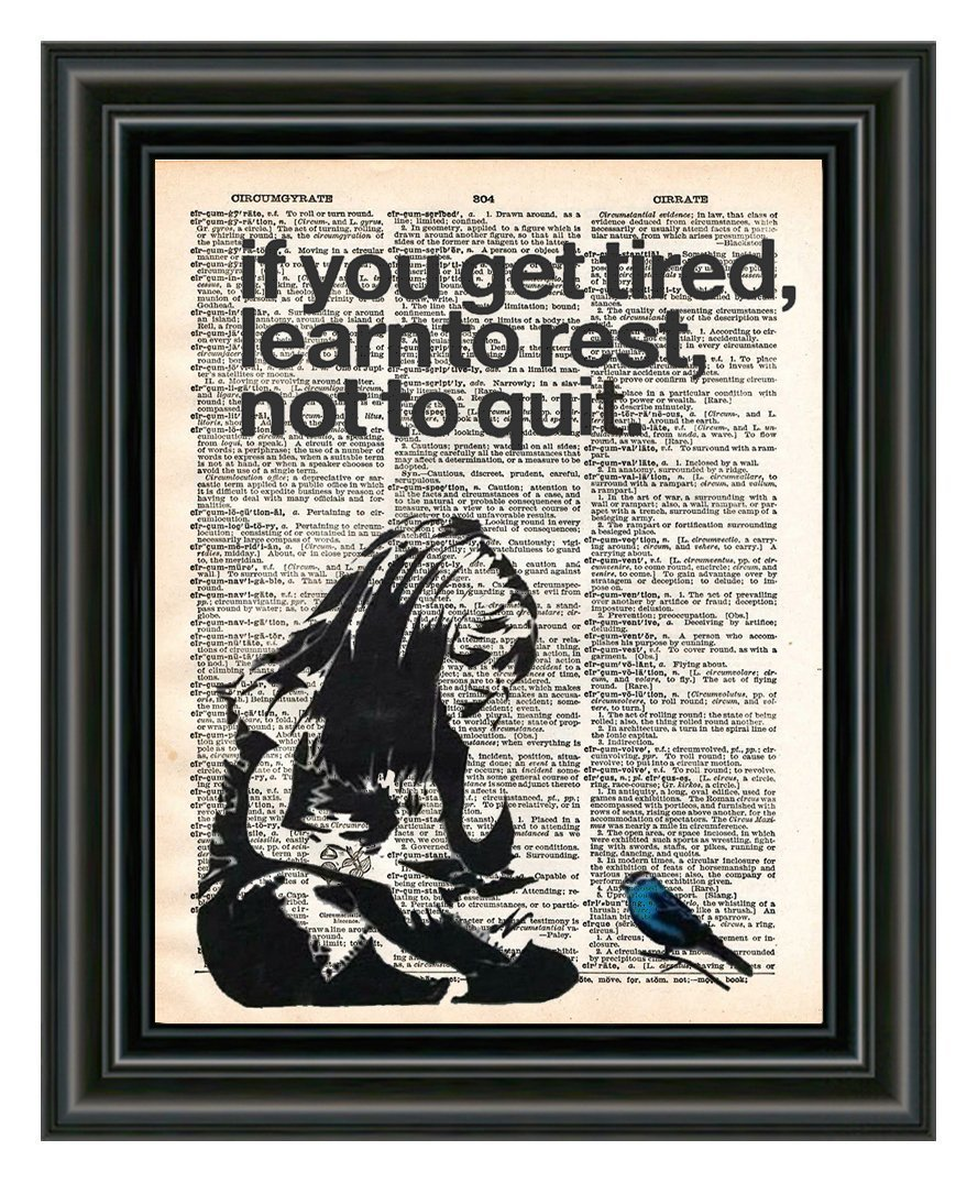 Banksy Girl if you get tired learn to rest, street art, vintage dictionary page book art print,