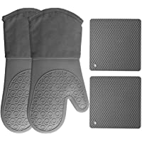 HOMWE Silicone Oven Mitts and Pot Holders (4-Piece Set) Heavy Duty Cooking Gloves, Kitchen Counter Safe Trivet Mats…