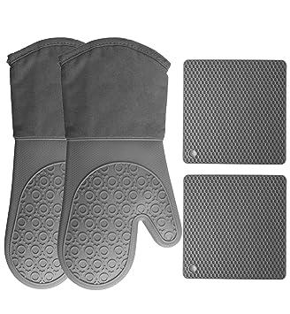 Amazon.com: Guantes de silicona para horno y patinetes (4 ...