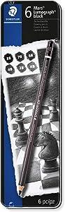 Staedtler Mars Lumograph Black, Carbon Blend Provides Jet Black Lines, Professional Art Pencils, Tin of 8 Assorted Sketch Pencils, 100B G6