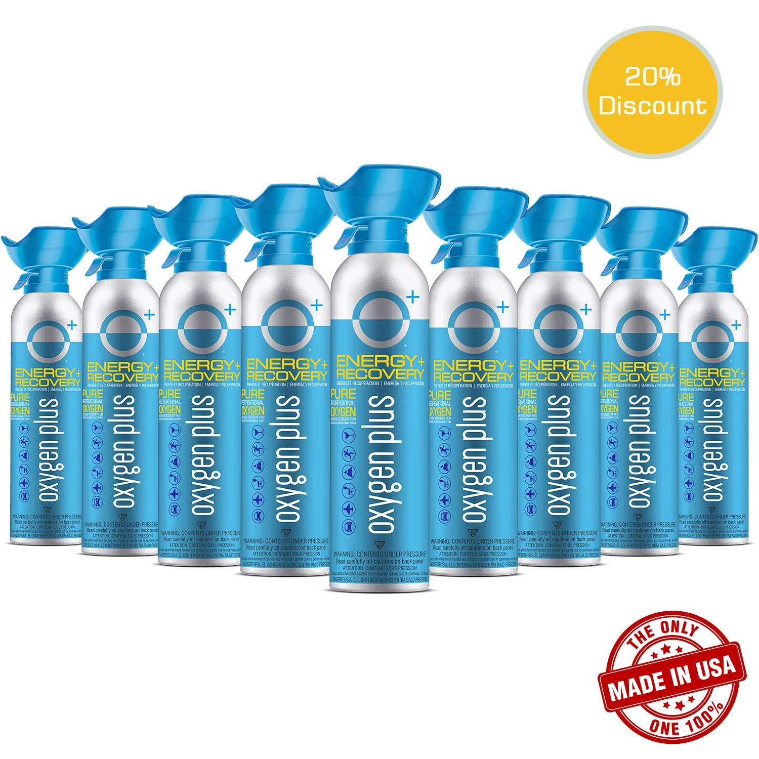 Oxygen Plus Oxygen Cans - O+ Biggi 9-Pack, Boost Oxygen Levels with Portable & Concentrated Recreational Oxygen for Altitude Performance, Energy & Performance, Made in the USA, Nine 7 Litre Canisters