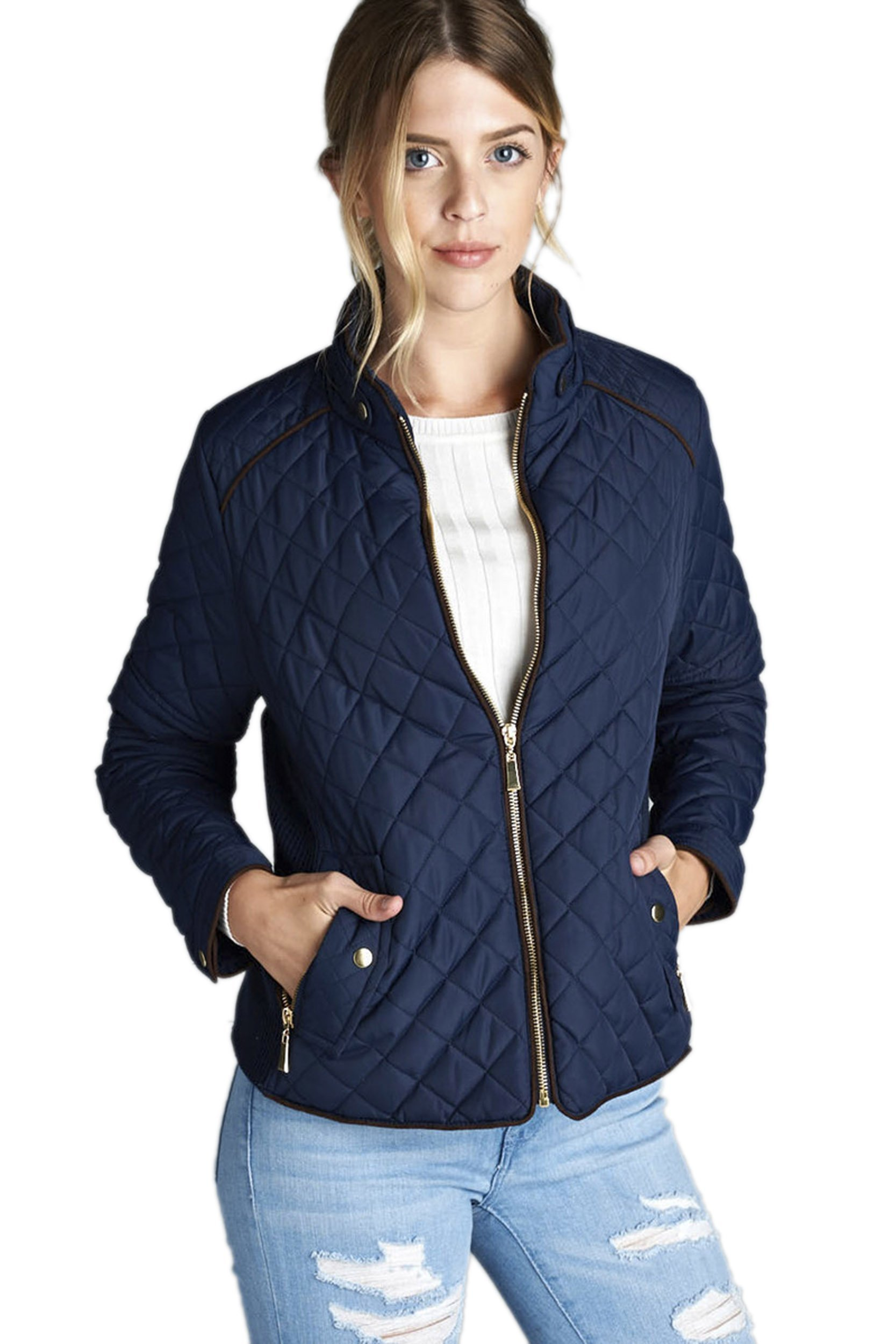 TOP LEGGING TL Women's Fab Classic Padded Quilted Lightweight Zip Up Jacket With Pockets 10_DKNAVY S