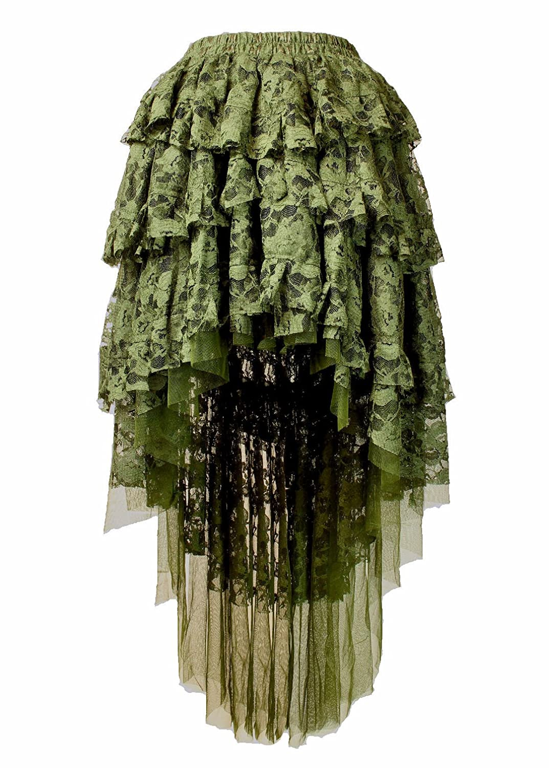 Womens Pirate Skirts Gypsy Deluxe Theatrical Quality Petal Skirt Olive Ophelie Fantasy Ruffle Lace