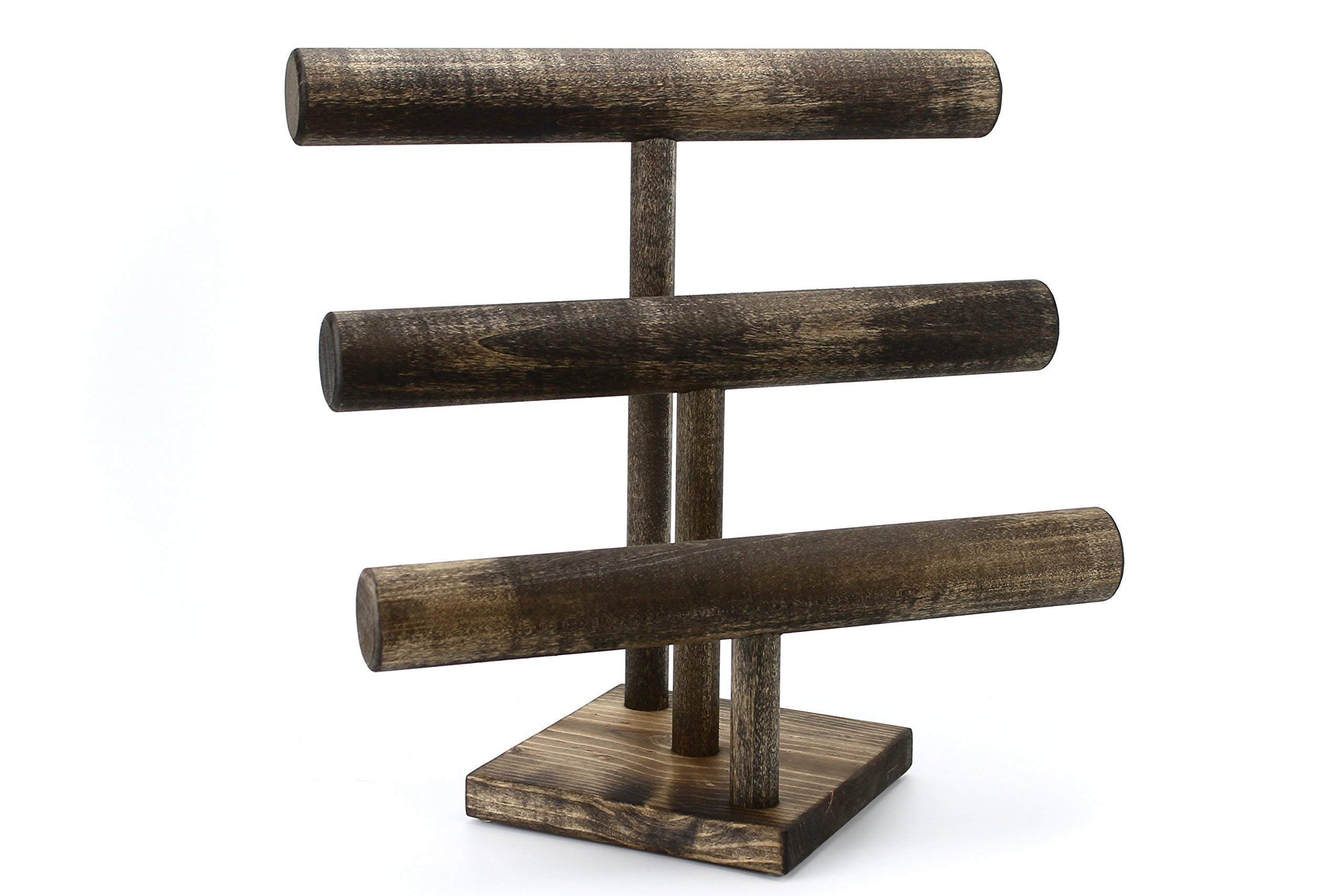 Jewelry Display Stand - Three Tier, Handmade in USA, 12 in Wide Bracelet Watch Stand, Solid Wood T-Bar Display, Craft Show, Boutique Rustic Rack, 3 Tier 12 in Espresso Color