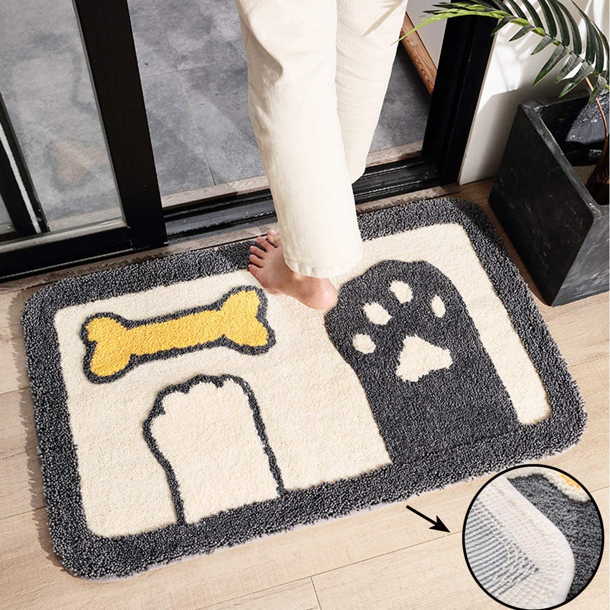 Indoor Doormat, Anti-Slip Quickly Absorb Moisture and Mud Rugs Cute Paws Ultra-Soft No Odor Door Mats for Home Entrance Doorway Entryway Bedroom Bathroom Kitchen,Machine Washable,32×20 Inch
