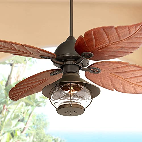 60 Casa Oak Creek Tropical Outdoor Ceiling Fan with Light LED Oil Rubbed Bronze Walnut Wood Blades Lantern Damp Rated for Patio Porch – Casa Vieja