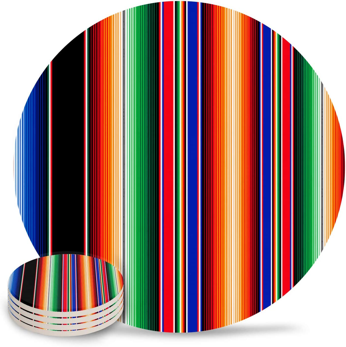 Cinco de Mayo Coasters For Drinks Set of 4, Absorbent Ceramic Coaster with Cork Back, Use as House, Living Room or Coffee Bar Decor, Mexican Serape Colorful Stripes Vertical Lines Latino