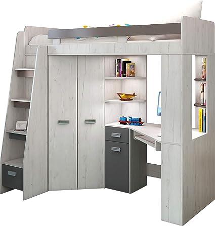 lit mezzanine lit superpose tout en un escalier gauche ensemble pour enfants lit superpose bureau armoire etageres artisanat blanc