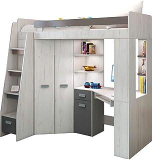 Newjoy Kinder Jugendzimmer Komplett Hochbett Schreibtisch 2 X