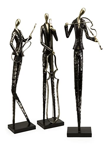 Imax Jazz Club Musician Statuaries – Set of Three, 6.5×4.75×29.75