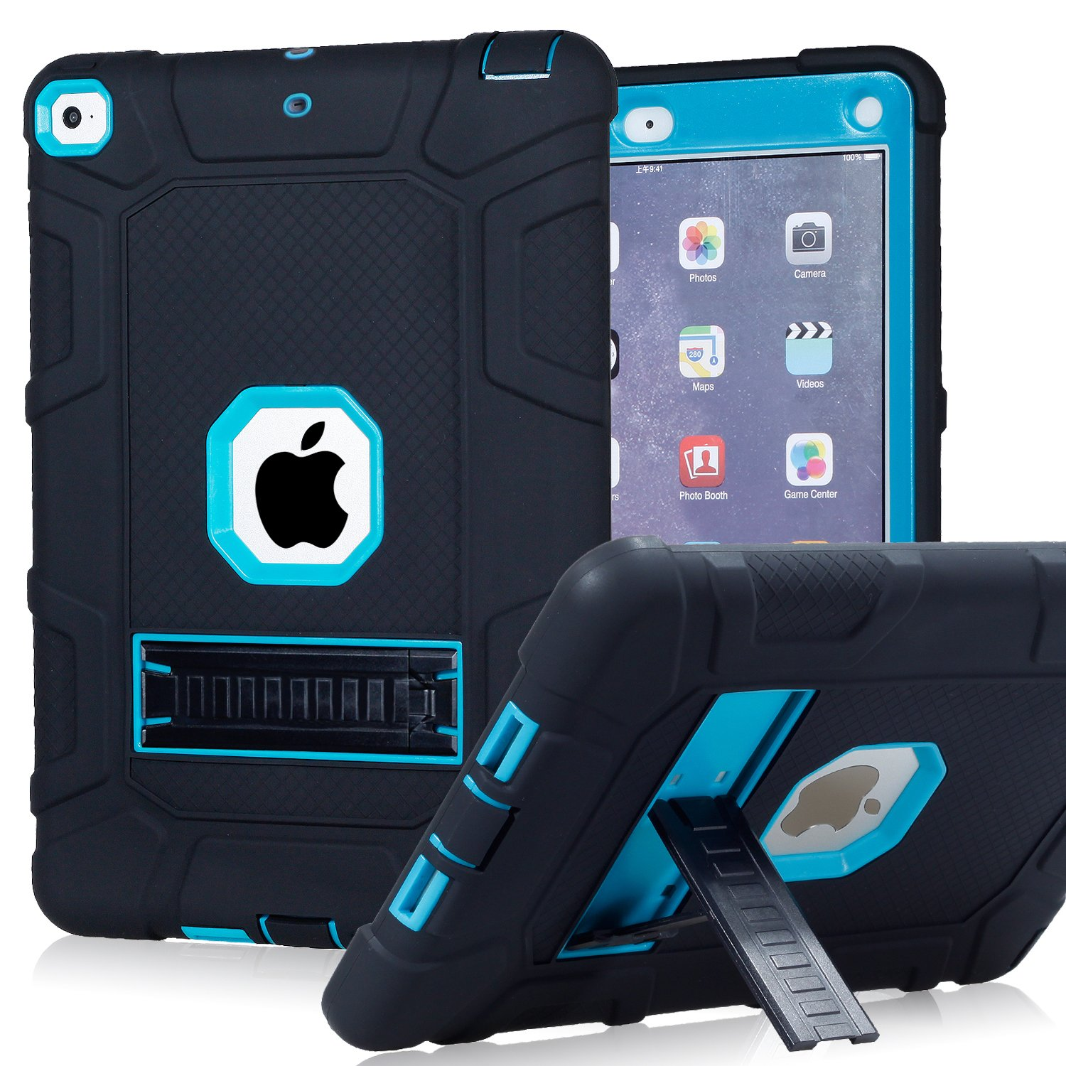 iPad 6th Generation Cases, iPad 2018 Case, iPad 9.7 Inch Case,Hybrid Shockproof Rugged Drop Protection Cover Built with Kickstand for New iPad 9.7 inch A1893/A1954/A1822,/A1823 (Navy) PPSHA