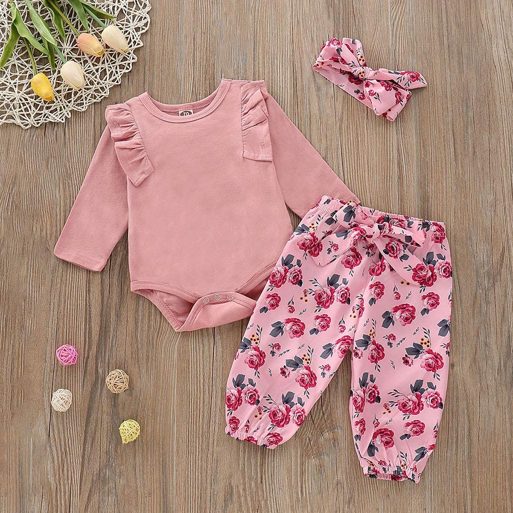 Floral Printed Pants Headband Outfit Set Womola Baby Girl Clothes 2pcs Solid Color Romper