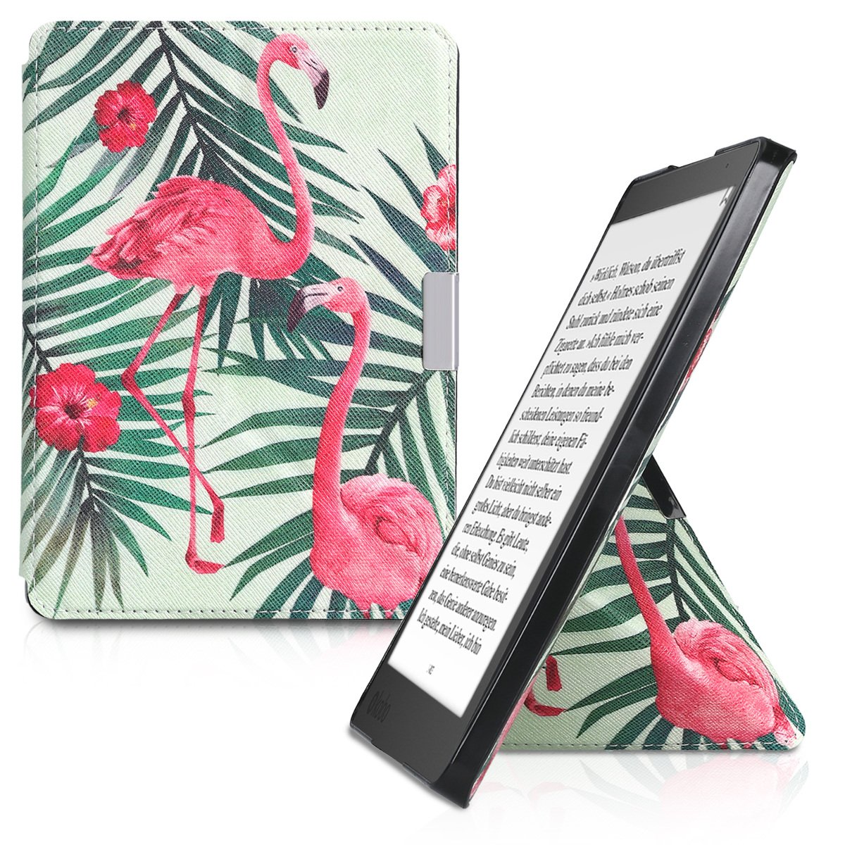 kwmobile Origami Case for Kobo Aura Edition 2 - Ultra Slim Fit Premium PU Leather Cover with Stand - Light Pink Green Light Green