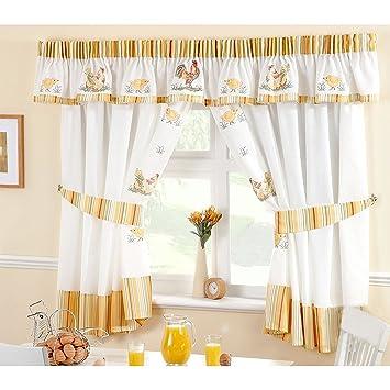 Just Contempo - Juego de cortinas de cocina (pliegue de lápiz ...
