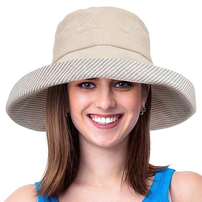 f5ad56df2 Womens Bucket Hat UV Sun Protection Lightweight Packable Summer Travel  Beach Cap